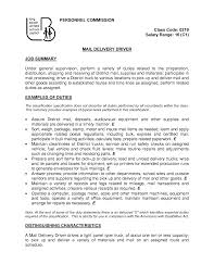 Excellent Job Summary And Mail Delivery Driver Resume Sample