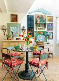 shabby chic dining room furniture. Colorful-dining-room-filled-with-snazzy-flea-market- Shabby Chic Dining Room Furniture S