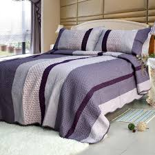 Purple Charm] Cotton 3PC Striped Vermicelli-Quilted Printed Quilt ... & [Purple Charm] Cotton 3PC Striped Vermicelli-Quilted Printed Quilt Set (Full /Queen Size) Adamdwight.com