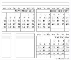 Calendario Noviembre 2020 Para Imprimir Calendario En Blanco Noviembre Diciembre 2019 Enero 2020