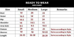 Wear Size Chart Kurties And Peplums Size Chart Wedding Wear