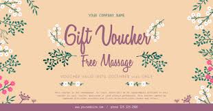 Gift Voucher Template Floral Spa Gift Voucher Template Postermywall