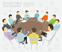 group of business people having a meeting round table talks conference collaboration and discussion process