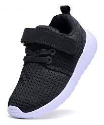 Boys Girls Lightweight Breathable Sneakers Strap Athletic Running Shoes Black Cy18gr42wiw