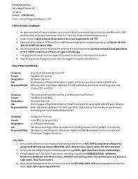 Asp Net Resume For Experienced Sample Dot Net Resume For