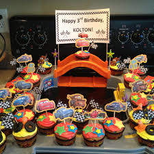 Disney Cars Birthday Cupcakes Could Do White Frosting With Car Picks