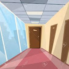 office hallway. Office Room Doors Corridor Hallway Flat Stock Vector - 47182626