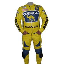 honda camel motorcycle racing leather suit yellow