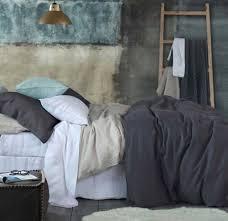 laundered linen duvet cover set charcoal by mm linen commercial supplies nz