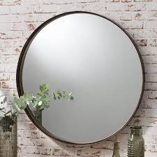 harper large metal round wall mirror bronze  bedroom  pinterest