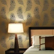 peacock feather stencil pattern for walls peacock wallpaper