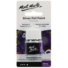 Mont Marte Foil Paint <b>20ml Bottle</b> - <b>Silver</b>