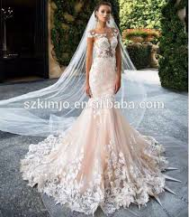 2018 elegant mermaid lace applique champagne wedding dresses with