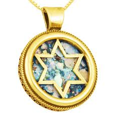 roman glass star of david round 14k gold pendant made in israel zoom