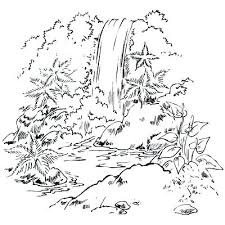 Waterfall Coloring Page Nature Pages For Adults Together With