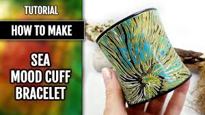 free tutorial how to make sea mood bracelet cuff from polymer clay jewelry making