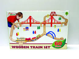 first learning wooden train set 60 pieces