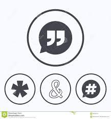 Quote Asterisk Footnote Icons Hashtag Symbol Illustration