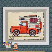 Pickup Truck Camper art print Cute whimsical slide in and | Etsy