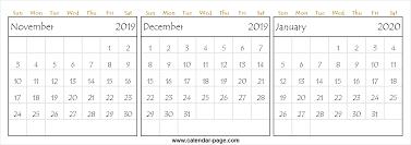 November 2019 To January 2020 Calendar Printable Monthly