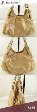 Coach Madison Maggie Embossed Gold Hobo One center zipper compartment, one  zipper pocket, two