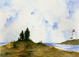 lighthouse painting lighthouse and pine trees by michael vigliotti