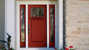 exterior wood door with sidelights narrow window fiberglass insert painted with red and white exterior color decor ideas