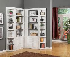 White Mid Century Corner Bookcase And Shelves