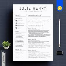 Modern Resume Cover Letters Modern Resume Template Cv Template Cover Letter Etsy