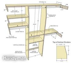 Building closet shelves Ideas Closet Dimensions The Family Handyman Closet Organizing Simple Closet Rod And Shelf System The Family