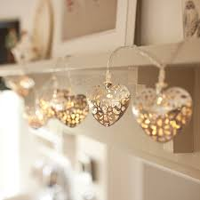 Battery Operated Led Indoor Lights 10 Gold Filigree Heart Battery Operated Led Fairy Lights By