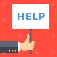 Hand Holding Help Sign Board Wooden Placard With Help Word Written
