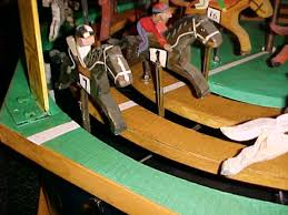 Wooden Horse Race Game Early Carnival Gambling Horse Race Game Machine Obnoxious Antiques 60