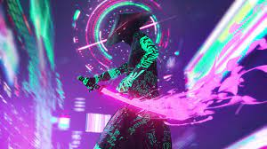 2560x1440 Neon Samurai Cyberpunk 1440P ...
