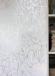 leaf silver white metallic wallpaper by