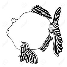 かわいい魚漫画線画彩色ベクトル イラスト イメージ白で隔離