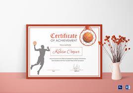 Achievement Certificate Basketball Award Achievement Certificate Design Template In Word Psd