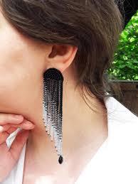 Чорні сережки-китиці, черные серьги-кисти, черно-<b>серебристые</b> ...