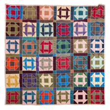 wonderful multi colored amish shoe fly or hole in the barn door pattern cotton corduroy quilt