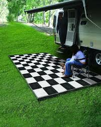 9x12 reversible outdoor mat rv trailer camping rug patio black white checd
