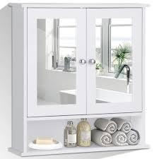 Costway Spiegelschrank Badezimmer Badschrank Mit Spiegel Weiß