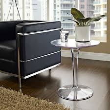 ... Canvas Round Side Table - Clear Plastic Base - EEI-217-CLR