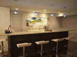 Interior:Luxury Classic Basement Bar Ideas With Black Leather Backrest  Stools Plus Cone Hanging Lamp