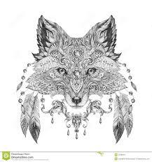 татуировка портрет одичалой лисы иллюстрация штока иллюстрации