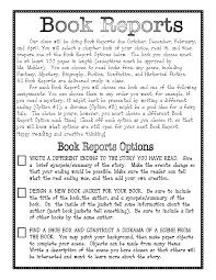 Writing a Book Report plus Rubric  EnchantedLearning com