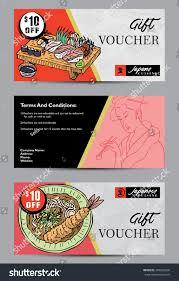 Food Voucher Template Gift Voucher Template Hand Drawn Japanese Stock Vector 24 17