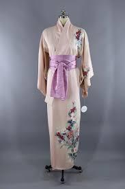 Light Pink Kimono Robe Vintage Silk Kimono Robe Light Pink Floral Print In 2019