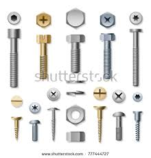 screw. Bolts And Screws. Vector Screw Bolt, Washer Nut Hardware Side View Isolated