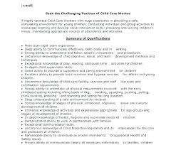 Child Cv Template Child Care Template Childcare Worker Resume Sample