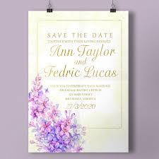Soft Purple Lavender Wedding Invitation Template For Free